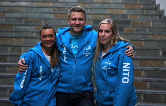 Fadderstyret med faddersjef Maria Caroline Paulsen (t.v.), Jørgen Astad Hansen og Therese Helene Aas. Foto: Elisabeth Dimby